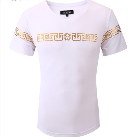 Pavini Other - Men's White Gold Pavini V Neck Short Sleeve Tee